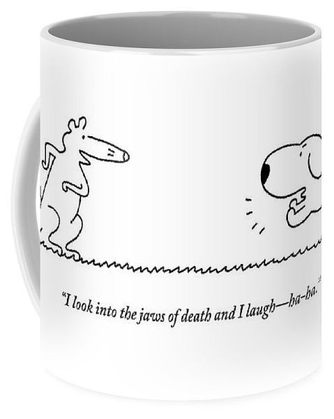 A Barking Dog Runs Towards A Squirrel Who Faces Coffee Mug