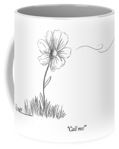 Flower Coffee Mug featuring the drawing A Bee Flying Away From A Daisy After Pollination by Julian Rowe