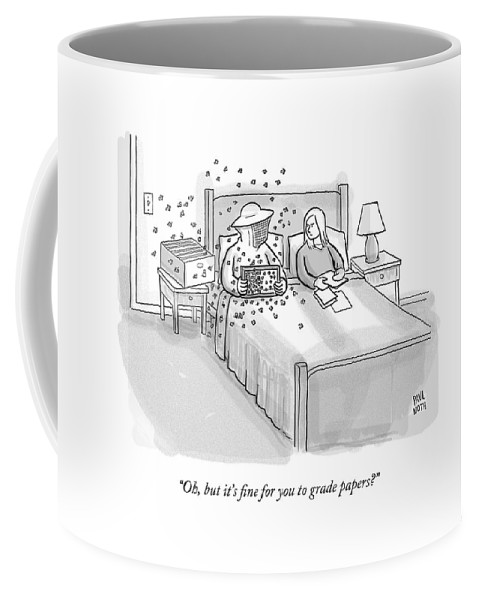 Bedroom Scenes Coffee Mug featuring the drawing A Beekeeper Surrounded By Bees Is Sitting In Bed by Paul Noth