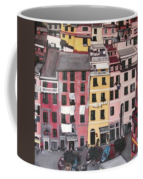 Vernazza Coffee Mug featuring the painting A Bird's Eye View Of Cinque Terre by Quin Sweetman