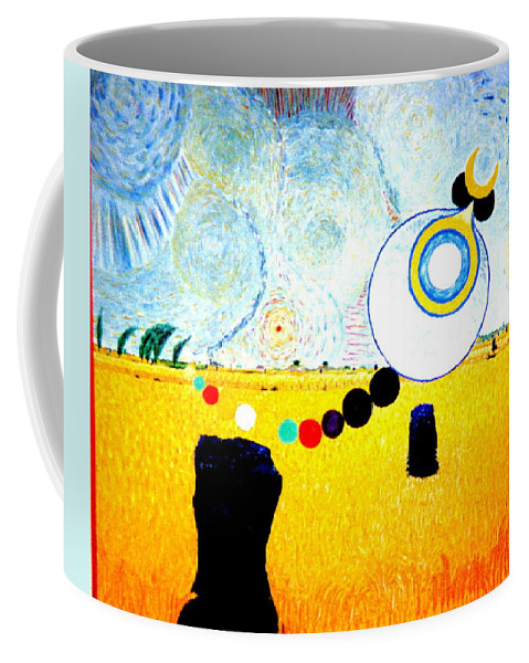 Landscape Coffee Mug featuring the painting A Blustry Day In Wheatshire by MERLIN Vernon