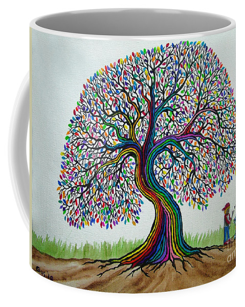 Rainbow Tree Coffee Mug featuring the painting A Boy His Dog And Rainbow Tree Dreams by Nick Gustafson