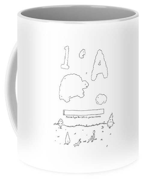 A Boy Looks Up At The Sky And Sees A Captcha Coffee Mug