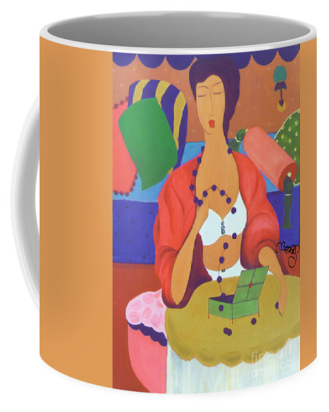 #female Coffee Mug featuring the painting A Broken Promise by Jacquelinemari