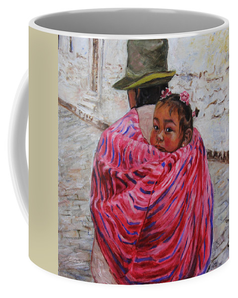 Portrait Coffee Mug featuring the painting A Bundle Buggy Swaddle - Peru Impression IIi by Xueling Zou