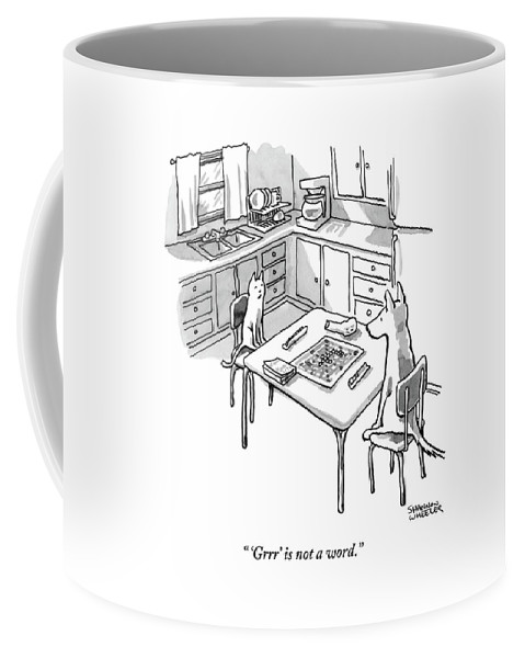 A Cat And Dog Play Scrabble In A Kitchen. 'grrr' Coffee Mug