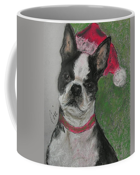 Boston Terrier Coffee Mug featuring the drawing A Christmas Terrier by Cori Solomon