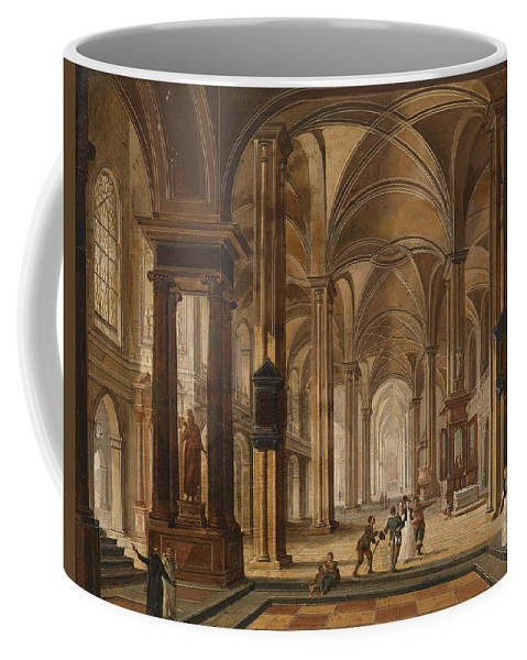Christian Stoecklin Coffee Mug featuring the painting A Church Interior With Elegant People by Christian Stoecklin