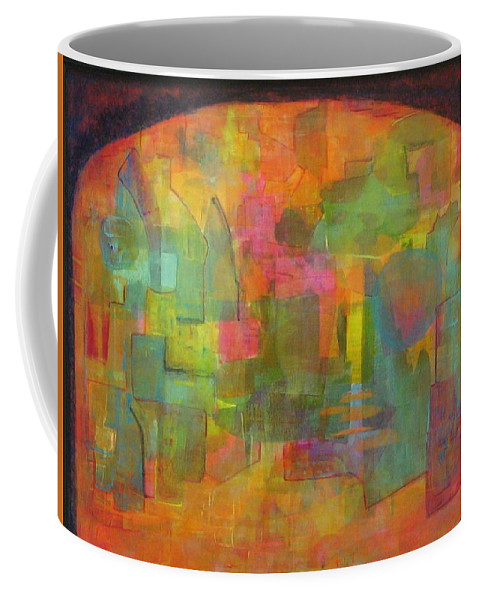 Abstract Paintings Coffee Mug featuring the painting A City Gate by Nili Tochner
