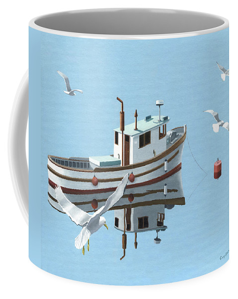 Boat Coffee Mug featuring the painting A Contemplation Of Seagulls by Gary Giacomelli
