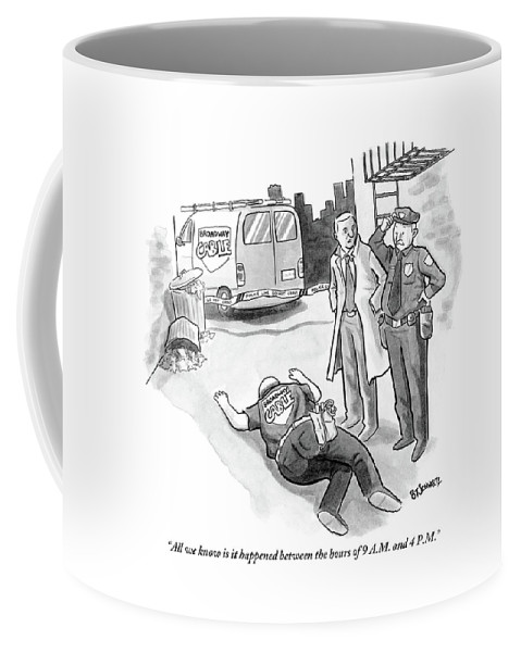 Cable Coffee Mug featuring the drawing A Cop And A Detective Stand Over The Face-down by Benjamin Schwartz