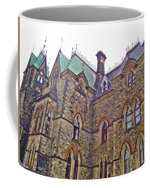 A Corner View Of Parliament Building In Ottawa Coffee Mug featuring the photograph A Corner Of Parliament Building In Ottawa-on by Ruth Hager