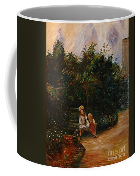 Classic Art Coffee Mug featuring the painting A Corner Of The Garden At The Hermitage by Silvana Abel