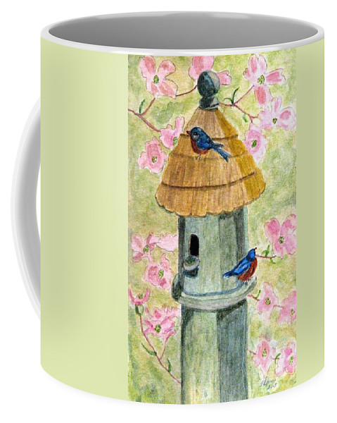 Birdhouses Coffee Mug featuring the painting A Cottage For Two by Angela Davies