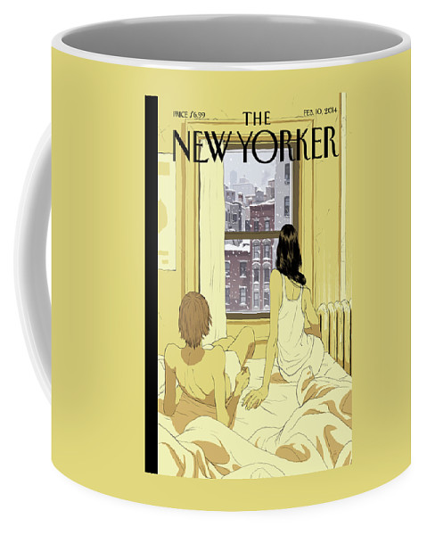 Seasons Coffee Mug featuring the painting A Couple Stays In Bed While It Snows In The City by Tomer Hanuka