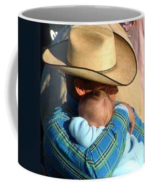 Cowboy With Baby Coffee Mug featuring the photograph A Cowboy's Love by Marilyn Smith