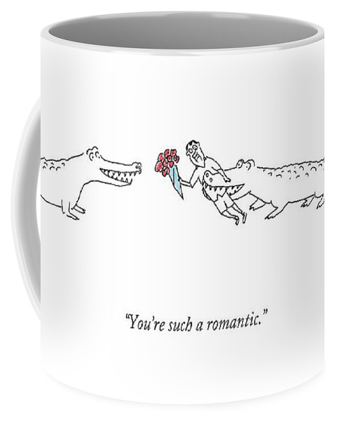 Flowers Coffee Mug featuring the drawing A Crocodile To Another Crocodile With A Person by Michael Maslin