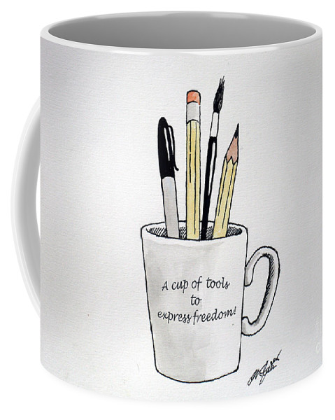 Christopher Shellhammer Coffee Mug featuring the drawing A Cup Of Tools To Express Freedom by Christopher Shellhammer