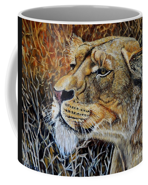 Lion Coffee Mug featuring the painting A Curious Lioness by Caroline Street