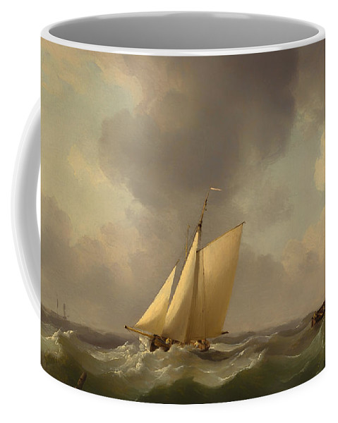 Painting Coffee Mug featuring the painting A Cutter In A Strong Breeze by Mountain Dreams