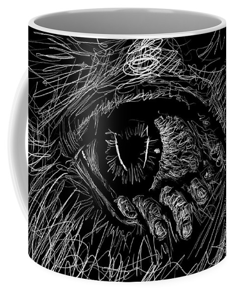 Monochrome Coffee Mug featuring the digital art A Dark Ray Of Hope by Danaan Andrew