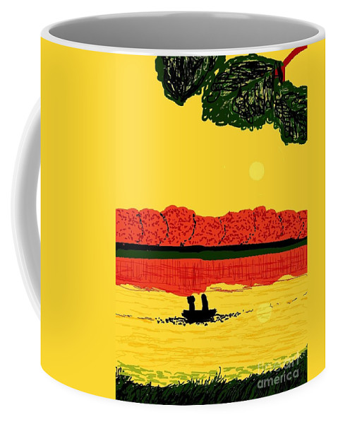 Light Coffee Mug featuring the digital art A Date At Sunset by Ishy Christine MudiArt Gallery
