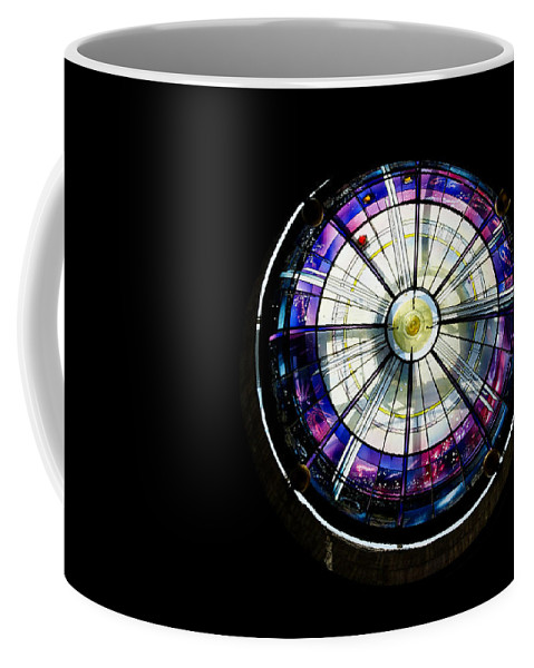 Abstract Coffee Mug featuring the photograph A Dazzling Stained Glass Gem Emerging From The Darkness by Georgia Mizuleva