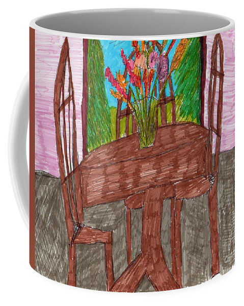 Dining Room Brown Table And Chairs Floral Centerpiece Window Backgound Coffee Mug featuring the mixed media The Leaning Table by Elinor Helen Rakowski