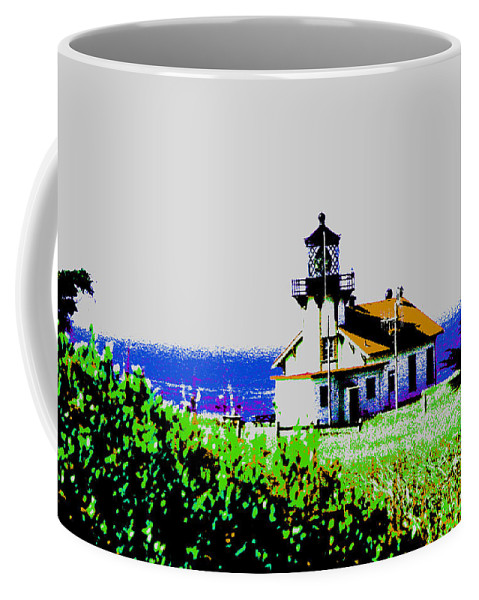 Lighthouse Coffee Mug featuring the photograph A Distant Lighthouse by Joseph Coulombe