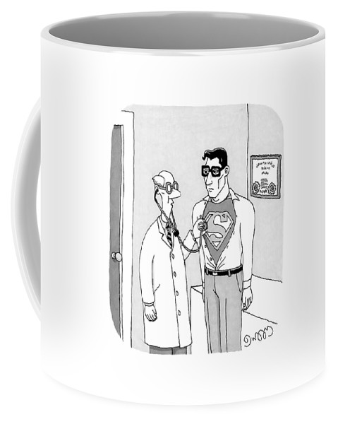 Cctk Coffee Mug featuring the drawing A Doctor Listens To Clark Kent's Heartbeat by J.C. Duffy