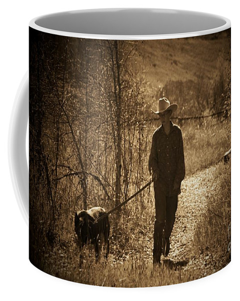 Dog Coffee Mug featuring the photograph A Dog And His Boy by Brandi Maher