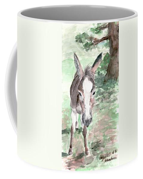 Donkey Coffee Mug featuring the painting A Donkey Day by Elizabeth Harshman