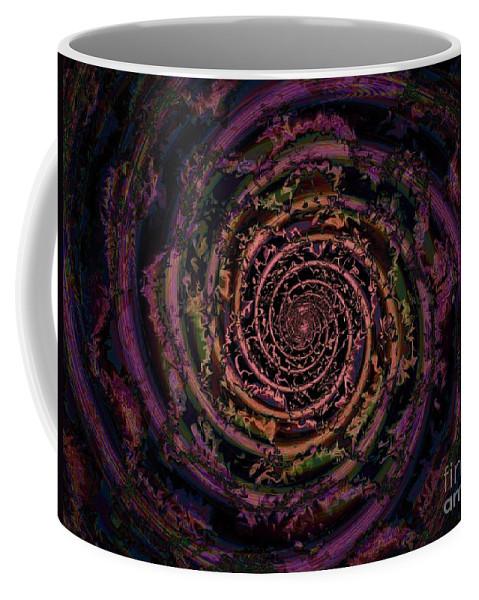 Fractal Art Coffee Mug featuring the digital art A Downward Spiral by Elizabeth McTaggart