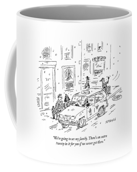 Taxi Coffee Mug featuring the drawing A Family Talks To A Taxi Driver Before Getting by David Sipress
