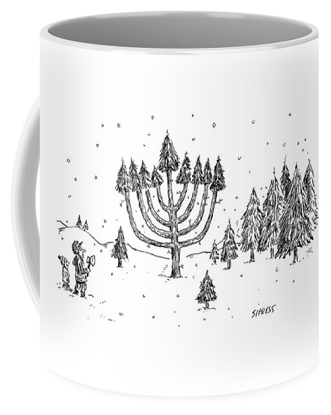 Christmas Coffee Mugs.A Father And Child See A Menorah Shaped Christmas Coffee Mug