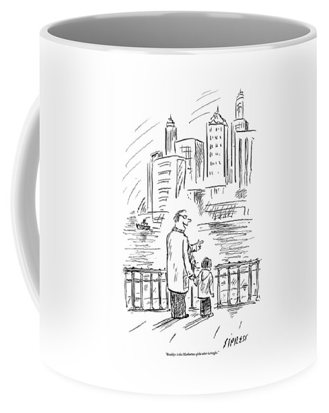 Brooklyn Coffee Mug featuring the drawing A Father And Son In Brooklyn Look by David Sipress