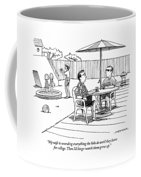 My Wife Is Recording Everything The Kids Do Until They Leave For College. Then I'll Binge-watch Them Grow Up. Coffee Mug featuring the drawing A Father Speaks To A Man Under An Umbrella by Joe Dator