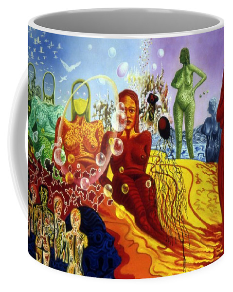 Genio Coffee Mug featuring the painting A Feminine Day In A Masculine Dreamer's Night by Genio GgXpress