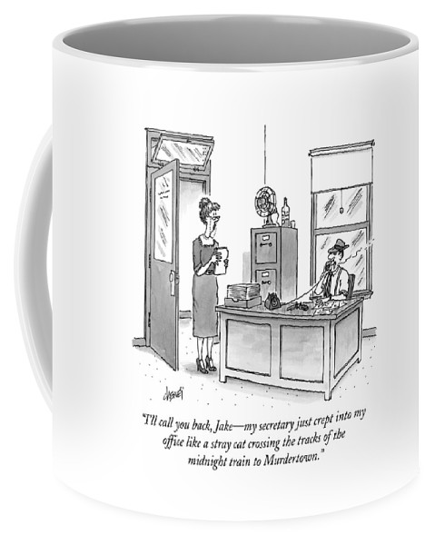 Raymond Chandler Coffee Mug featuring the drawing A Film Noir Detective Speaks On The Phone by Tom Cheney