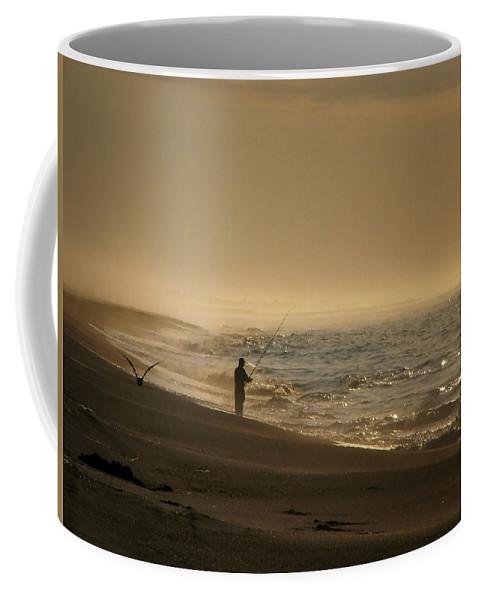 Beach Coffee Mug featuring the photograph A Fisherman's Morning by GJ Blackman