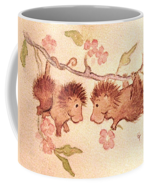 Two Cute Possums Coffee Mug featuring the painting A Flower For You by Hazel Holland