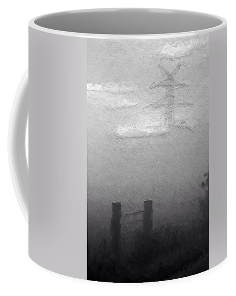 Fog Mist Misty Foggy Day Landscape Clouds Grey Gray Expressionism Bw Sw Coffee Mug featuring the painting A Foggy Day by Steve K