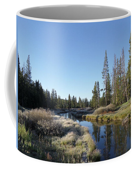 Blue Coffee Mug featuring the photograph A Frosty Morning Along Obsidian Creek by Frank Madia