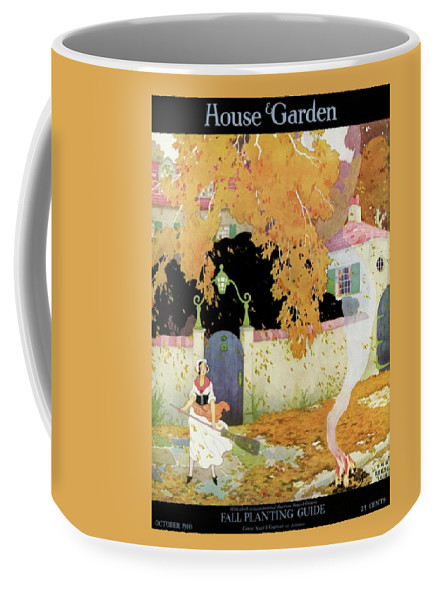 House And Garden Coffee Mug featuring the photograph A Girl Sweeping Leaves by The Reeses
