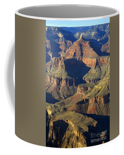 Grand Canyon National Park Arizona Grandview Point South Rim Canyons Rock Formations Rock Formation Landscape Landscapes Landmark Landmarks Coffee Mug featuring the photograph A Grandview by Bob Phillips