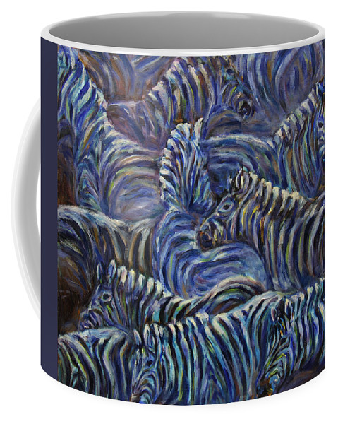 Zebras Coffee Mug featuring the painting A Group Of Zebras by Xueling Zou