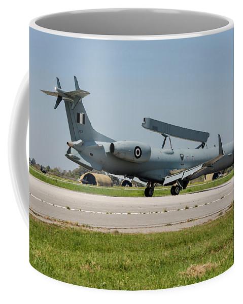 Greece Coffee Mug featuring the photograph A Hellenic Air Force Emb-145 Awacs by Timm Ziegenthaler