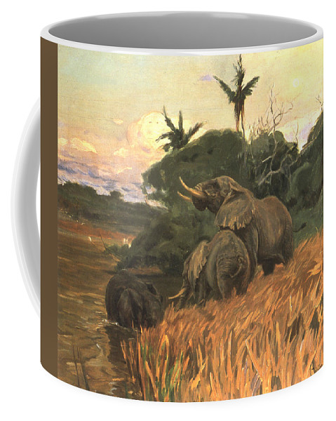 Friedrich Wilhelm Kuhnert Coffee Mug featuring the digital art A Herd Of Elephants By Moonlight by Friedrich Wilhelm Kuhnert