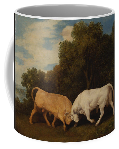 Bulls Fighting Coffee Mug featuring the painting Bulls Fighting by Celestial Images