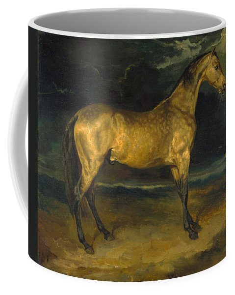 Jean-louis-andre-theodore Gericault Coffee Mug featuring the painting A Horse Frightened By Lightning by Jean-Louis-Andre-Theodore Gericault